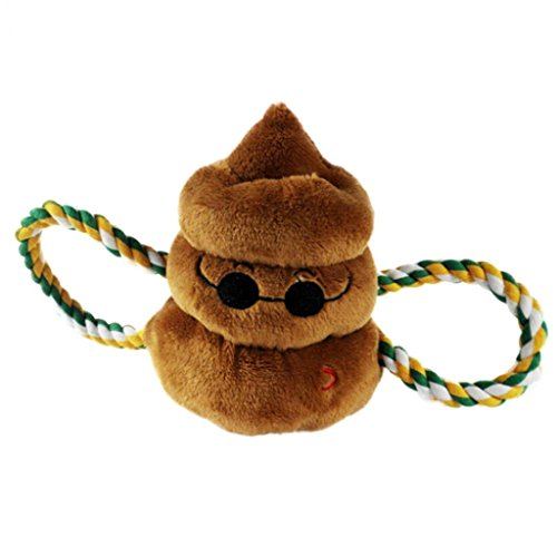 Braceus Funny Expression Emoji Amusing Poop Shape Pet Dog Puppy Chew Sound Soft Stuffed Toy (Brown)