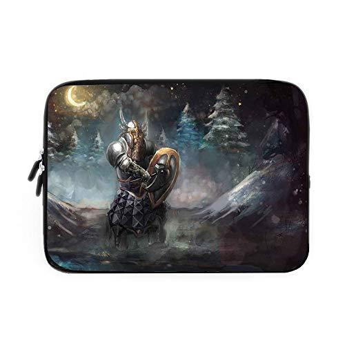 - Fantasy Laptop Sleeve Bag,Neoprene Sleeve Case/Medival Dwarf Knight in Gothic Shield at Battle Place Winter Illustration/for Apple MacBook Air Samsung Google Acer HP DELL Lenovo AsusGrey Ligh