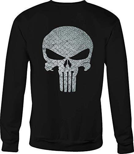 Motorcycle Crewneck Sweatshirt Diamond Plate Military Punisher Skull - Small Black