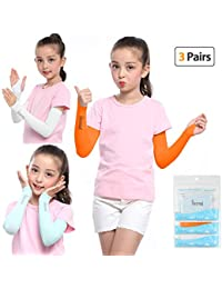 UV Protection Arm Sleeves 1 Pair/3 Pairs UPF 50+ Cooling Sunblock or Arm Warmer Sleeves for Kids with/No Thumb Hole