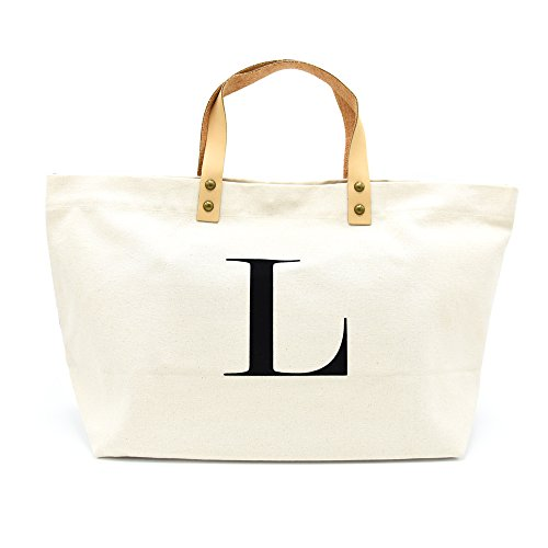 PumPumpz Canvas Tote Bag, Natural Color and Classic L Monogram Bag.- Which arrive you within 5 ()