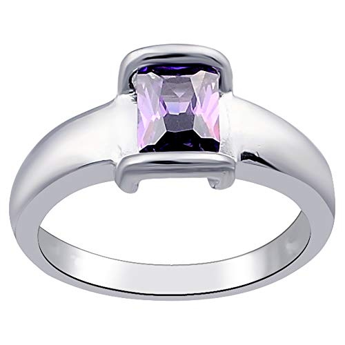 1.30 Ct Purple Octgon Amethyst Cz 925 Sterling Silver Ring For Women: Nickel Free Cute And Simple Birthday Gift For Sister: Ring Size-8