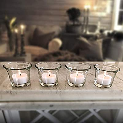 Clear Glass Tealight Candle Holders, Set of 4, Candles Not Included, Must Have Party Decor
