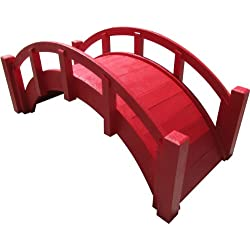 "SamsGazebos Miniature Japanese Wood Garden Bridge, Red, Assembled, 25"" Long X 11"" Tall X 11-1/2"" Wide, Made in USA"