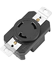 NEMA L5-30R 30 Amp 125 Volt Twist Lock Female Wall Outlet Receptacle US 3 Wire Industrial Grade Grounding Flush Mounting Power Generator Receptacle, Black