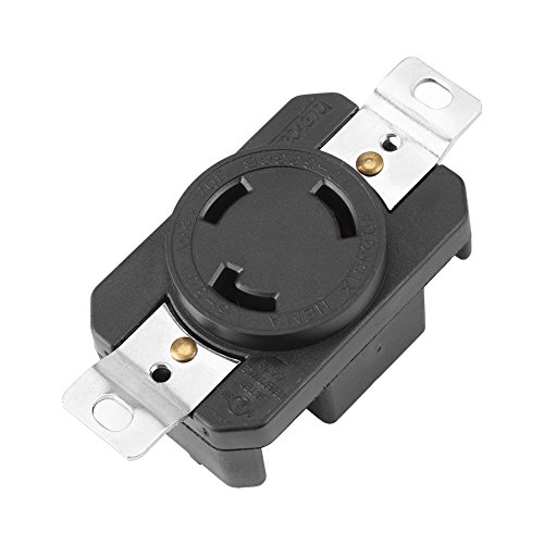 Nema Twist Lock Receptacle (NEMA L5-30P 30 Amp 125 Volt Twist Lock Female Wall Outlet Receptacle US 3 Wire Industrial Grade Grounding Flush Mounting Power Generator Receptacle, Black)