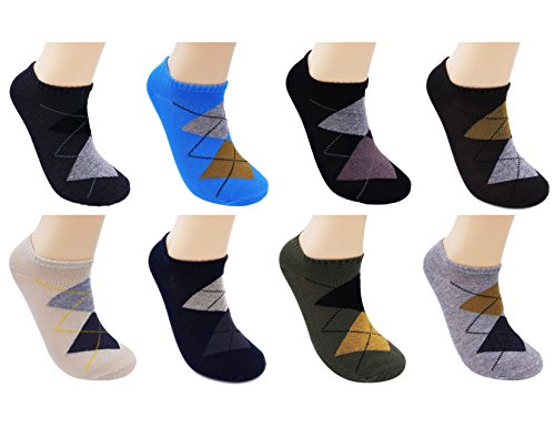 Ayli Men's Low Cut Ankle Length Casual Cotton Dress Socks, 8 Pairs, Geometric Mix Colors, sk8z703mc Mens Multi Colored Dress