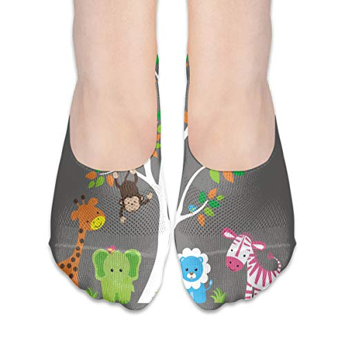 (No Show Socks Jungle Animal Lion Bird Monkey Great Womens Low Cut Sock Boat Invisible Socks For Girl)