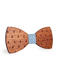 Mahoosive Men's Creative Boat Anchor Wood Bow Tie With Wooden Gift Box