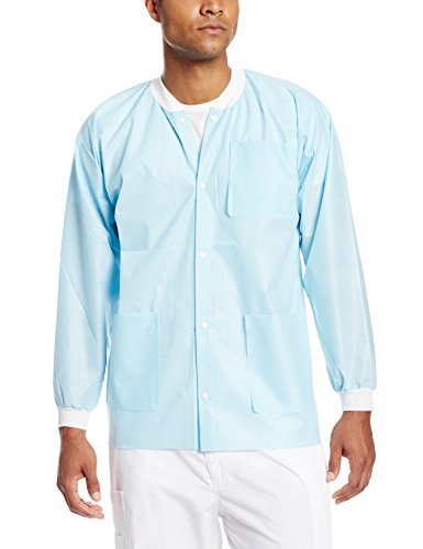 ValuMax 3630SBS Extra-Safe, Wrinkle-Free, Noble Looking Disposable SMS Hip Length Jacket, Sky Blue, S, Pack of 10 by Valumax