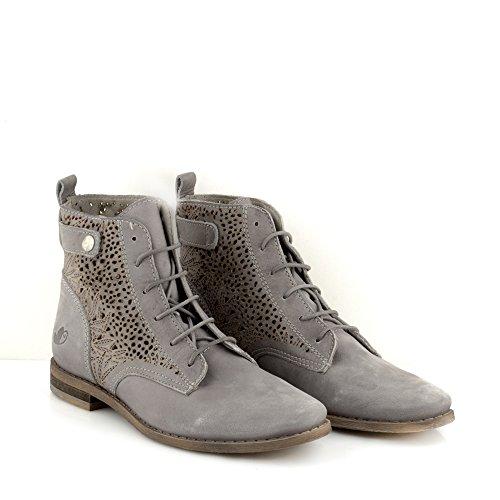 com para 8809 com Mujer Felmini Gris Gris Genuino Valenca Cuero Botas Cordones Enamorarse Zapatos pYHH5xwqI