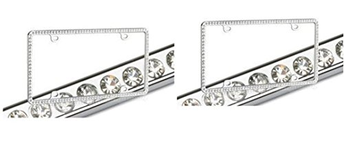 White Crystal Chrome Metal License Plate Frame x 2 (1 pair)