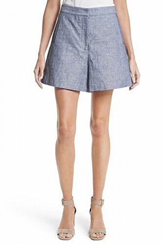 Grey Jason Wu Denim High-Waist Double-Face Dress Shorts Blue 12