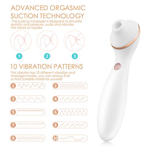 GBD Clitoral Sucking Vibrator, G Spot Clit Dildo Vibrators for Women with Suction & Vibration, Waterproof Clitoral G Spotter Nipple Stimulator Toys [White] by GBD Direct (Image #4)