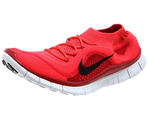 Nike Free Flyknit + Men's Running Shoes, Light Crimson/Black/Gym Red/Pure Platinum, 11.5 M US