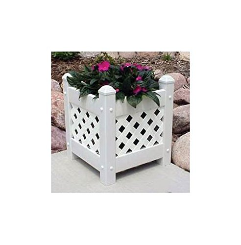 Dura-Trel 11152 Small Lattice Planter, White