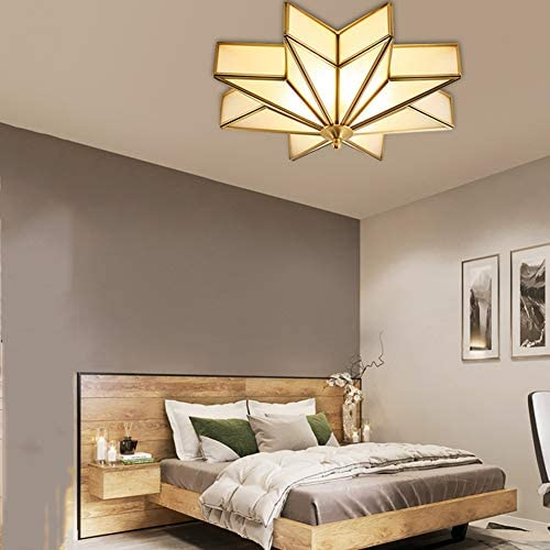Ceiling Lamps,All Copper Glass Ceiling Light,Modern Polished Copper Lights,Indoor Hanging Light.Lighting Fixture. Copper 50x18cm(20x7inch)