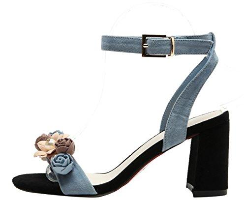Calaier Women Calxdb Open-Toe 7.5CM Block Heel Buckle Sandals Shoes Blue 1C7kt