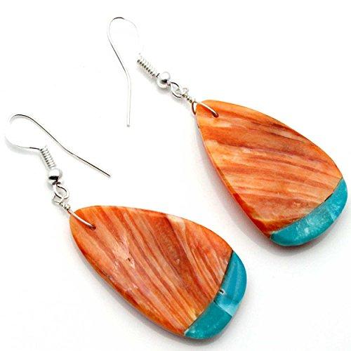 (Orange Spiney Oyster Shell Earrings)