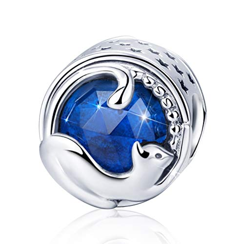 Naomi European Genuine 925 Sterling Silver Playing Kitten Cat Charms Blue Sapphire Beads Fit Bracelets & Bangles for Jewlery Making -