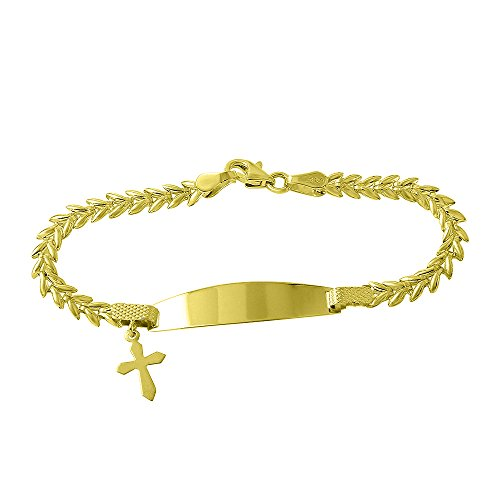 Polished 14k Yellow Gold Baby ID Bracelet with Cross Crucifix, 6'' by JewelryAmerica