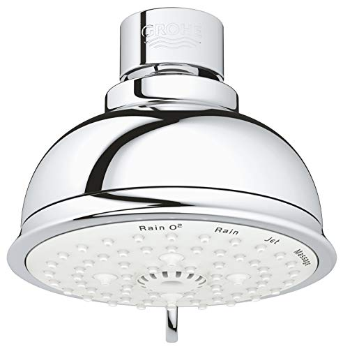 Grohe 27610001 Tempesta Rustic 100 4 Spray Shower Head 2.5 gpm, Starlight Chrome