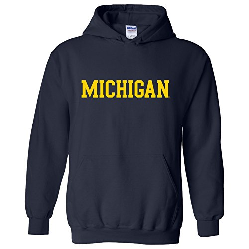 Michigan Wolverines Basic Block Hoodie - X-Large - Navy