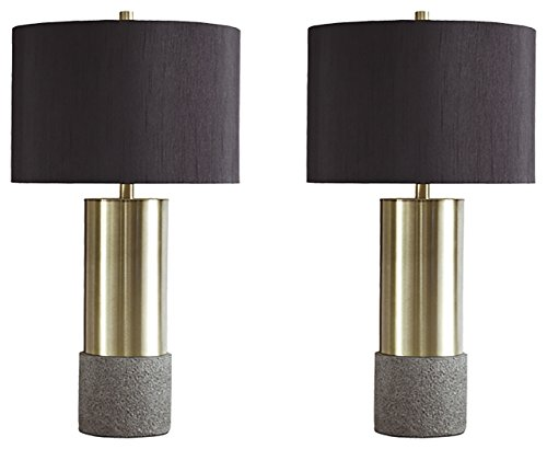 - Ashley Furniture Signature Design - Jacek Table Lamps - Set of 2 - Contemporary - Gray/Brass Finish