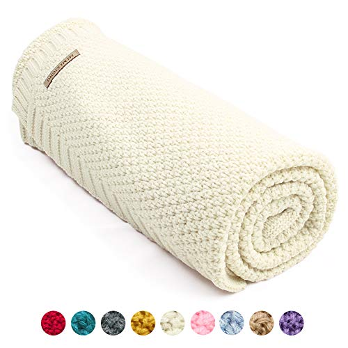 mimixiong Baby Blanket Knit Toddler Blankets for Boys and Girls (Ivory,40