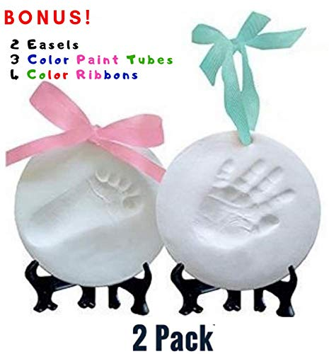 New Baby Ornament Keepsake Kit (Newborn Bundle) 2 EASELS, 4 Ribbons & 3 Color Paint Tubes! Baby Handprint Kit and Footprint Kit, Clay Casting Kit for Baby Shower Gifts, Boys & Girls