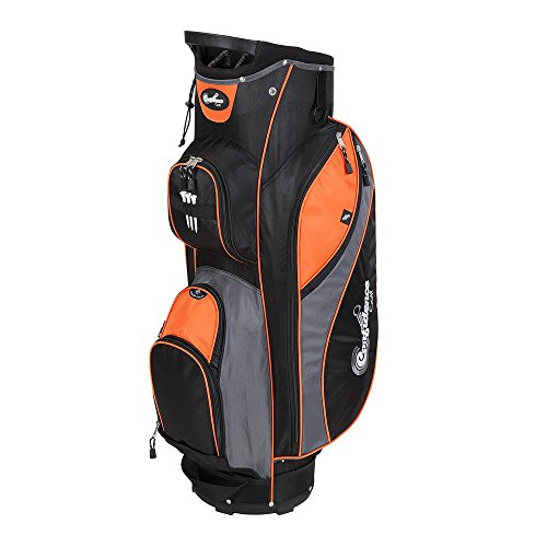 Confidence Golf Pro II 14 Way Divider Full Length Cart Bag w/Cooler Pocket Orange