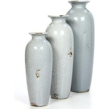 Amazon Hosley Set Of 3 Blue Ceramic Vases Ideal Gift For
