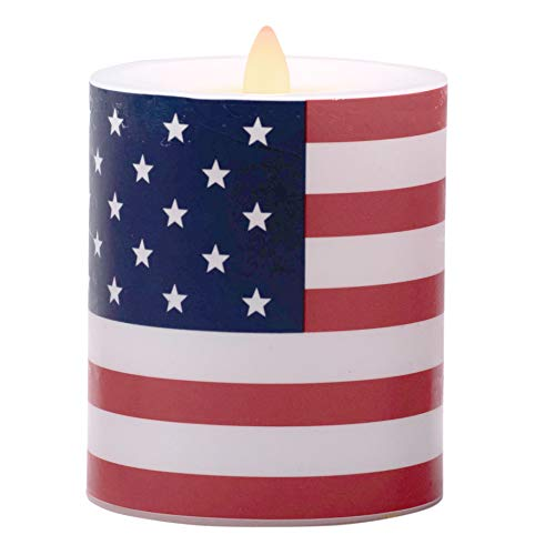 Flameless Candles Battery Operated American Flag Pillar Candles with Timer and Remote to Buy Separately(D 3.5