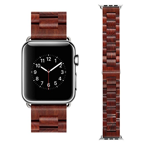 Apple Watch Wooden Band,DISDIM Bracelet Strap Classic Wristband Wood Bracelet Strap for Apple iWatch Sport & Edition 42mm (Brown)