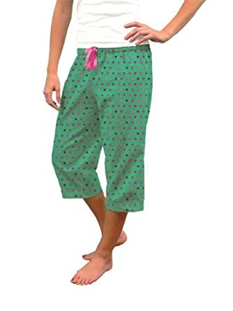 Capri Pants Pajama Bottoms - 100% Cotton (XL, Darling Dot)