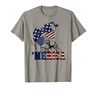 Merica American Flag Pit bull T Shirt Funny 4th of July Gift