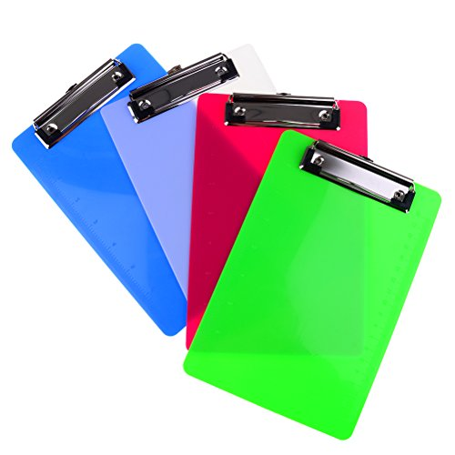 Welecom Set of 4 Durable File Plastic Clipboard A5 Profile Clip Hardboard Assorted Colored Heavy Duty Clip Boards Paper Holder Writing Memo Folders for Office School classrooms doctor - Boards Shop Memo