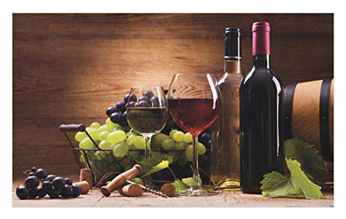 Ambesonne Wine Doormat, Glasses of Red and White Wine Served with Grapes French Gourmet Tasting, Decorative Polyester Floor Mat with Non-Skid Backing, 30