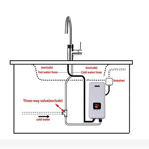 Calentador de agua caliente eléctrico - Calefacción sistema de ducha con cabezal de ducha de 240 V 5.5 kW para cocina de cuarto de baño: Amazon.es: ...