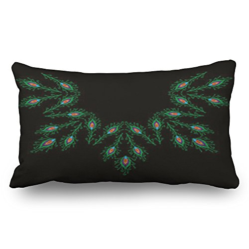 - Armko Throw Pillow Covers Peacock Feathers Embroidery Stitches Imitation Neck Miscellaneous Signs Symbols Decorative Pillowcases 20x36 Inches Rectangular Home Decor Zippered Cushion Cases