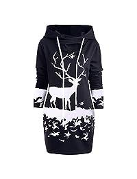 FarJing Womens Christmas Reindeer Printed Hooded Drawstring Mini Dress