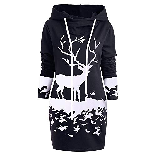 POQOQ Dress Women Christmas Reindeer Printed Hooded Drawstring Loose T-Shirt XS Black