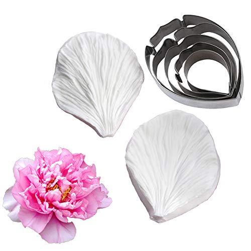 KALAIEN 5pcs Stainless Steel Peony Cutter 2pcs Fondant Silicone Mold Gumpaste Peony Sugarcraft Flower Veining Mold Veiner Petal Making Tool