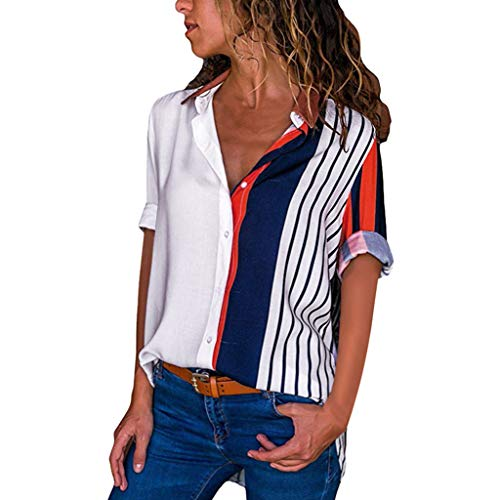 DAYPLAY Womens Tops V Neck Casual Short Sleeve Color Block Stripe Button Loose Fit T Shirts Tunic Blouse