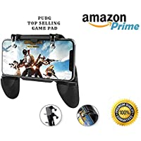 Generic PUBG Mobile Phone 5 in 1 Gamepad Controller & Joystick with Metallic PUBG Trigger Button Compatible for Android and iOS Phones (Black)