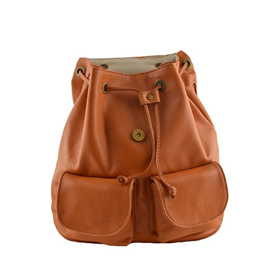 Zaino In Pelle Donna Colore Cognac - Pelletteria Toscana Made In Italy - Zaino