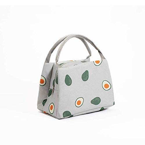Thickened lunch box bag tote bag as aluminum foil cute female hand-held bag with rice insulation bag student lunch bag Grey - avocado (Handheld Lunch Box)
