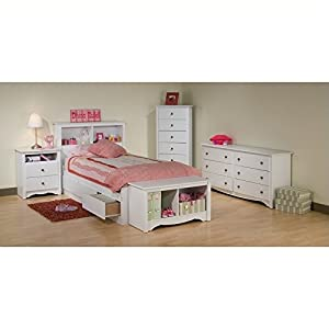 Prepac Monterey White Twin Wood Platform Storage Bed 4 Piece Bedroom Set