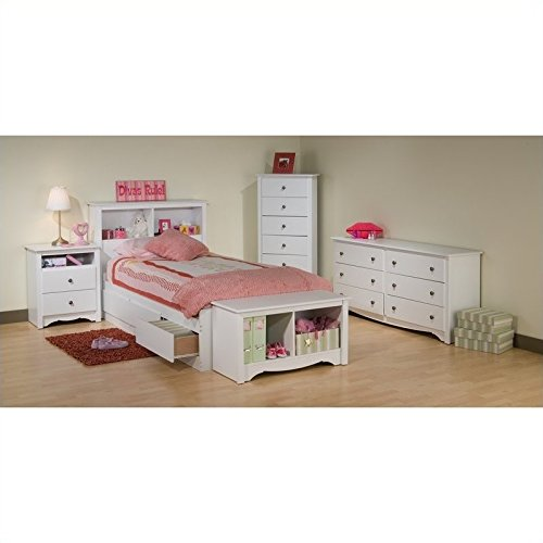 Prepac Monterey White Twin Wood Platform Storage Bed 4 Piece Bedroom - White Monterey 6 Drawer Dresser