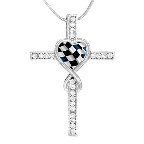 (M100% Cross Love Heart Infinity God 3D Print Jewelry Black & White Racing Checkered Flag Cross Pendant Necklace)